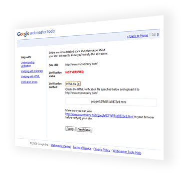 Google Webmaster Tools - HTML verification