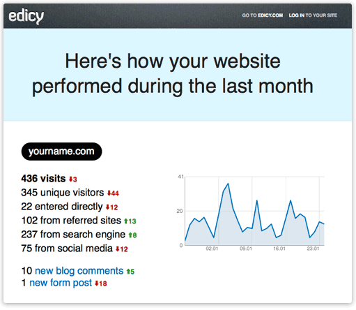 Monthly website activity report from Edicy